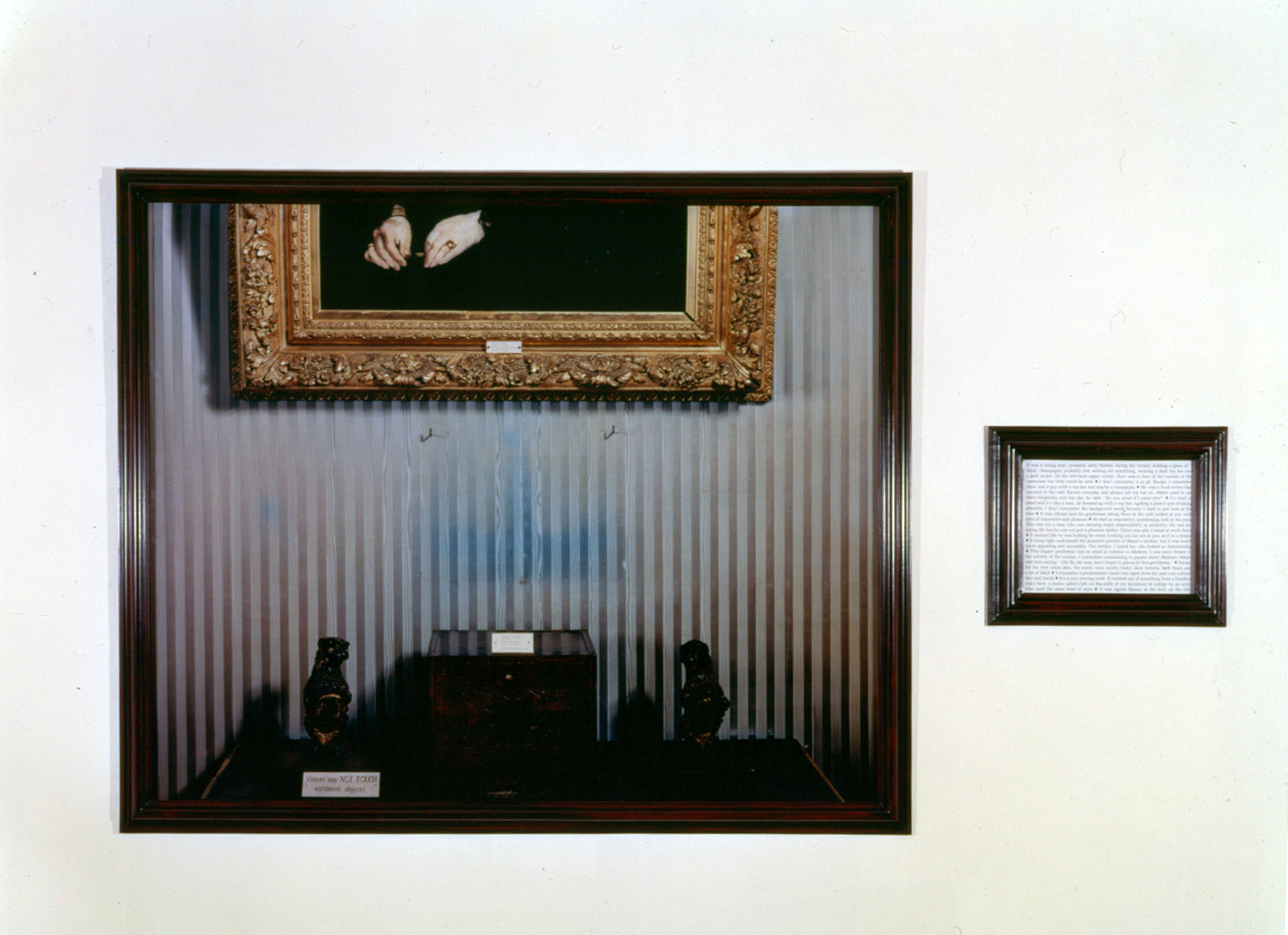 Sophie Calle, Last Seen... (Manet, Chez Tortoni), 1991 1 Ektachrome photograph and 1 lithograph Photo: 53 1⁄2 x 64 9/16 in (136 x 164 cm) Text: 16 1/8 x 19 11/16 in (41 x 50 cm) Edition of 2 French, 2 English Photo: Dorothy Zeidman © 2013 Sophie Calle / Artists Rights Society (ARS), New York / ADAGP, Paris. Courtesy of Sophie Calle, Paula Cooper Gallery, New York, and Isabella Stewart Gardner Museum, Boston.