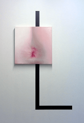 "Craig Drennen, First Mistress, 2007, oil on canvas + latex paint on wall, 18"" x 18"" + 2"" black line"