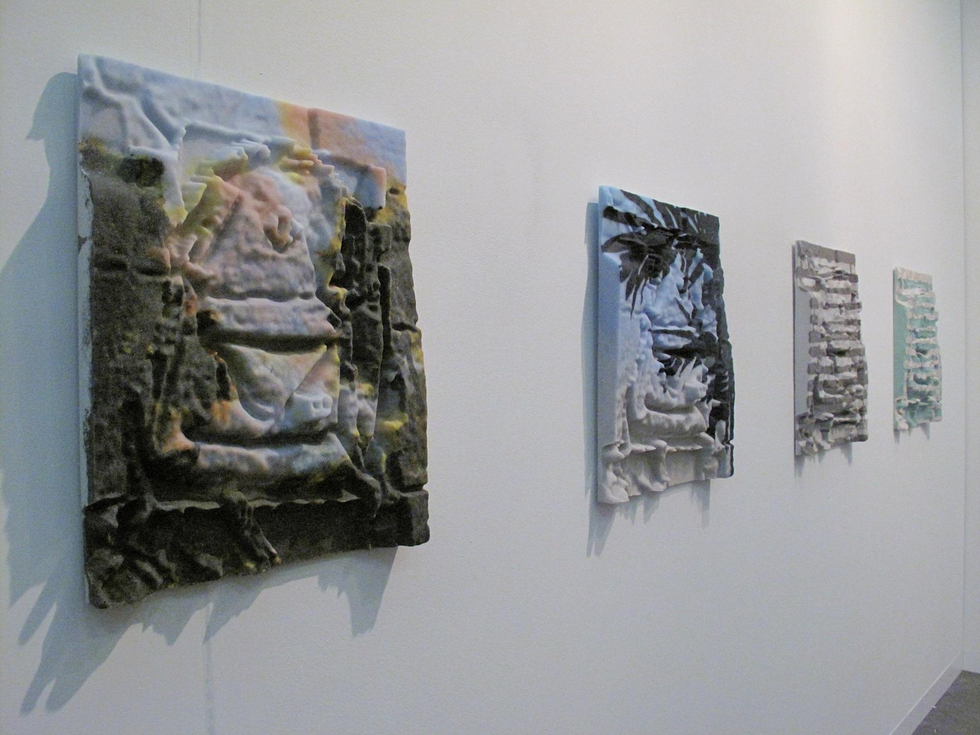 M + B Gallery,  Dwyer Kilcollin, Various works, 2014 all silica, glass, feldspar, granite, urethane, bronze hardware, signed verso, Unique The Armory Show, New York, 2014, Pier 94
