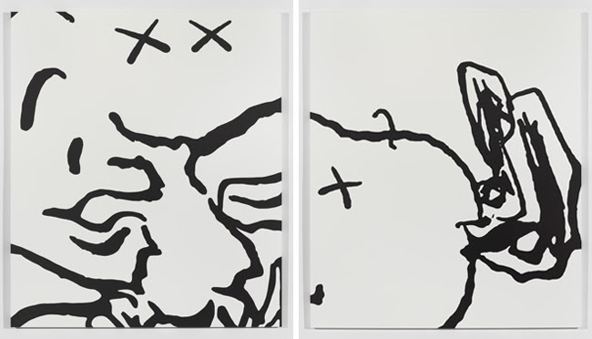 "(Left) KAWS ""Untitled (MBFA10)"" 2014, Acrylic on canvas, 213,5 x 183 cm / 84 x 72 inches (Right) KAWS ""Untitled (MBFA8)"" 2014, Acrylic on canvas, 213,5 x 183  cm / 84 x 72 inches Images courtesy of Galerie Perrotin, New York/Paris/Hong Kong"
