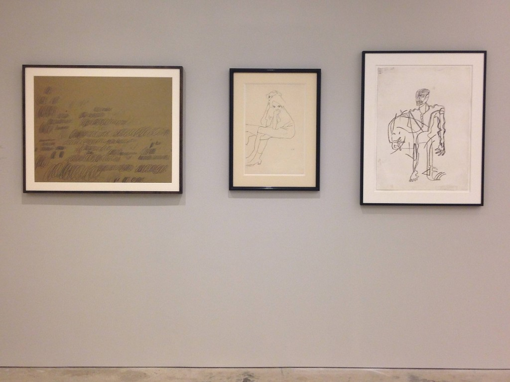 (Left to Right) Cy Twombly, Egon Schiele, Jean-Michel Basquiate at Nahmed Contemporary, Photograph by Katy Hamer, 2014
