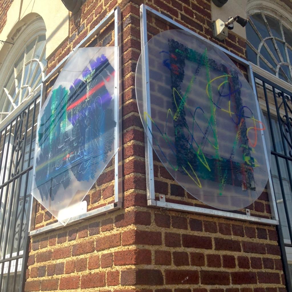 Panayiotis Terzis Gatekeeper, 2014. Screenprint on shaped plexiglass. Topless Gallery, Exterior view, Rockaway Beach, NY, 2014