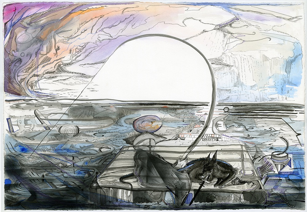 Max Razdow, The Fisher, Mixed media on paper, Image courtesy of the artist
