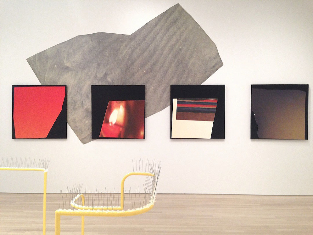Background: Kim Fisher, Installation view, Made in L.A. (Work courtesy of China Art Objects Gallery Foreground, Gabriel Kuri, Sculpture detail, 2014, Made in L.A., Hammer Museum, California