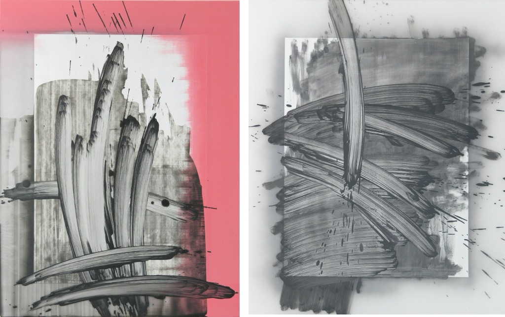 Todd Schroeder, PGRP25, (left), Oil spray paint on Plexisglass, 2014, PGRP16, (right), Oil spray paint on Plexiglass, 2014, Both images courtesy of the artist