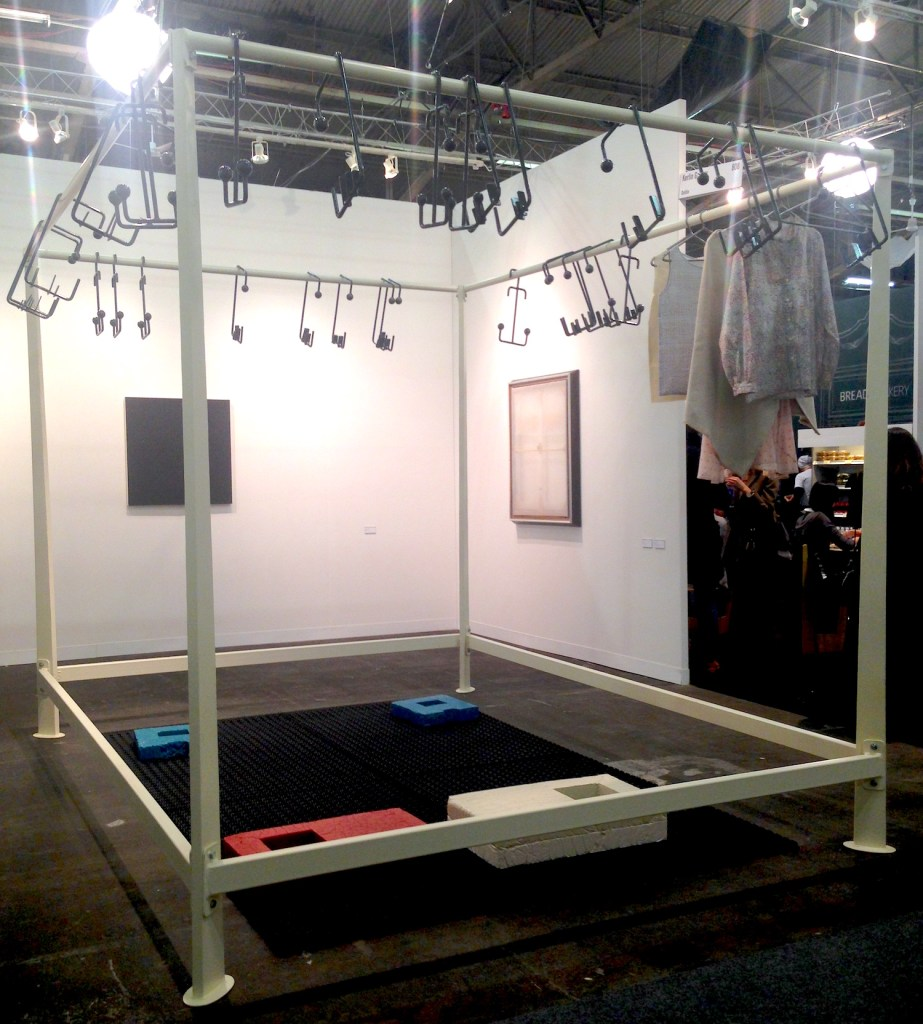 Aleana Egan, little surface pictures, 2014, Powder coated steel, lacquer, cotton & linen garments, resin, Anti-fatique matting, Kerlin Gallery, Dublin, Photograph by Katy Hamer, The Armory Show, 2015