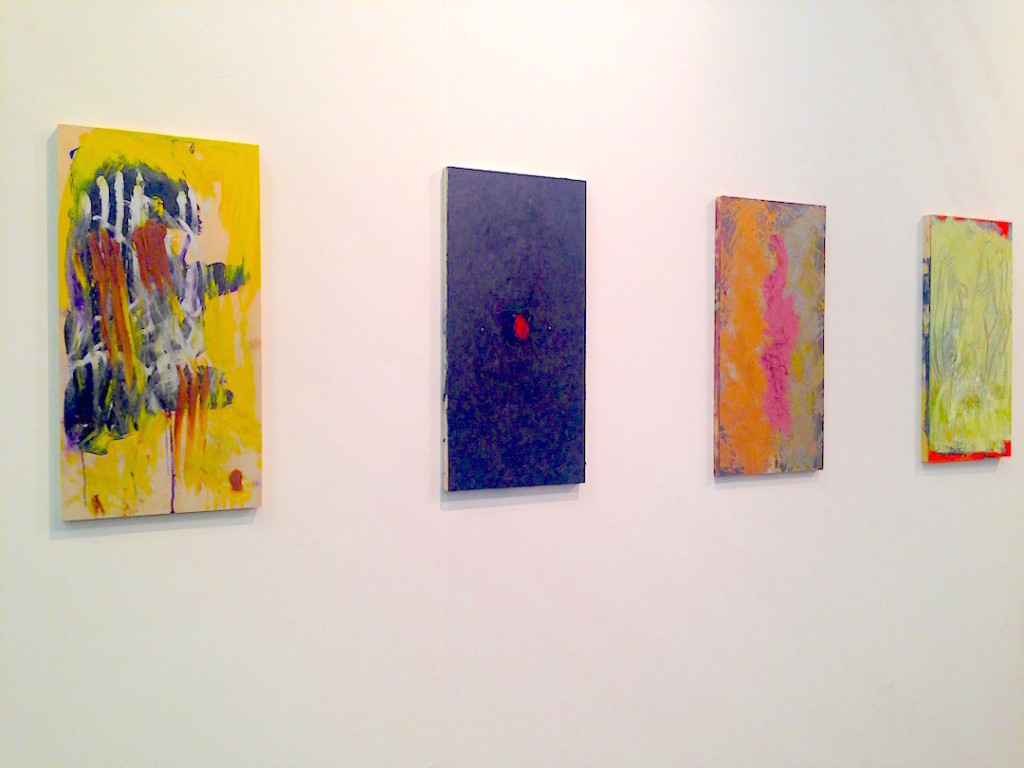 Bianca Beck, Installation view, oil on canvas paintings, Rachel Uffner, New York, Photograph by Katy Hamer, The Armory Show, 2015