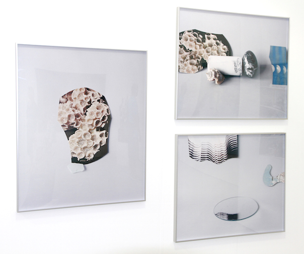 Parisian Laundry (Montréal, Canada) with Celia Perrin Sidarous Photographs from left to right, top to bottom Coral and Sea Glass, 2015,Marble Egg, Seashell and Images, 2015 andThe Waves, 2015, Inkjet on matte paper, Installation view at Untitled Miami, image credit Parisian Laundry (Toronto, Canada)
