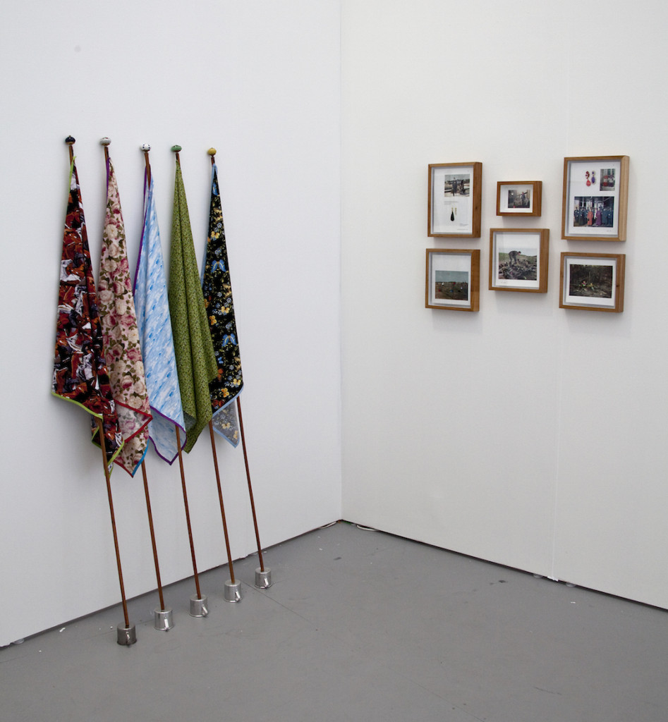 Central Galeria de Arte (São Paulo, Brazil) with Nino Cais Flags, 2013 Fabric, wood, ceramic knobs and metal cups Warfare, 2014 Book pages and jewels Installation view Untitled Miami, Photograph by VanessaAlbury