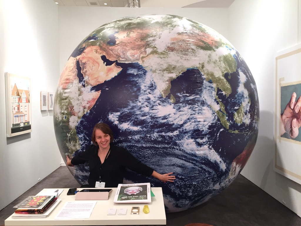 "What Pipeline, Detroit Puppies Puppies ""Earth"". Inflatable globe with NASA imagery 2014, Installation view NADA Miami, Photograph Zebadiah Keneally, 2015"