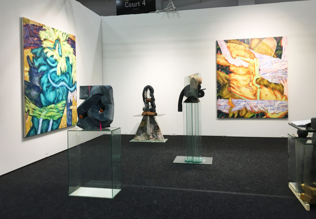 Installation view: Paintings by Victoria Roth and sculptures by Dave Hardy