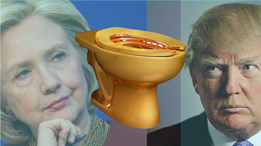 "Maurizo Cattelan's ""America"" (2016), center, flanked by Democratic nominee Hillary Clinton and Republican nominee Donald Trump, Photomontage by Katy Hamer, 2016"