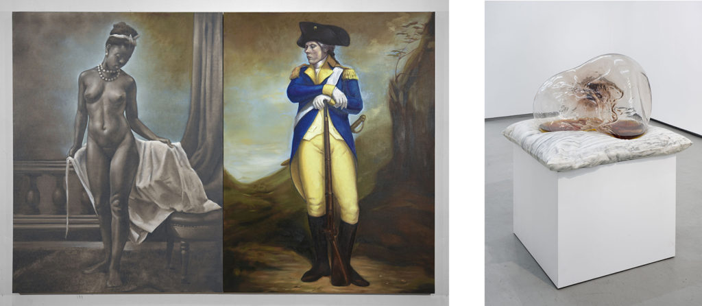 """Titus Kaphar, Left: """"Shifting Skies"""" (2016) Left: """"A Pillow for Fragile Fictions"""" (2016) Shifting Skies, Jack Shainman Gallery, New York. December 16, 2016 - January 28, 2017. Courtesy of Jack Shainman Gallery, New York, 2016"""