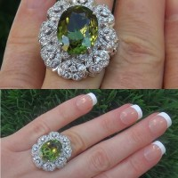 Gorgeous GIA 9.39 Ct VVS1 Natural Chrome Green Tourmaline Diamond 18k White Gold Ring