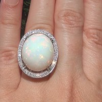 A Stunning GIA 20.26 ct Natural Ethiopian Opal Diamond 14k White Gold Estate Ring