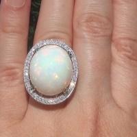 A Stunning GIA 20.26 ct Natural Ethiopian Opal Diamond 14k White Gold Estate Ring