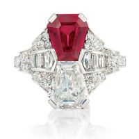 A Beautiful Art Deco Platinum, Ruby and Diamond Ring Set