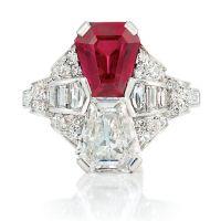 A Beautiful Art Deco Platinum, Ruby and Diamond Ring Set
