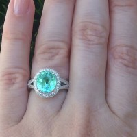 A Gorgeous GIA 2.94 Ct VVS Natural Paraiba Tourmaline Diamond 14k White Gold Estate Ring