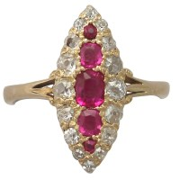 An Exquisite Antique 0.62 Carat Ruby & 0.46 Carat Diamond, 18K Yellow Gold Marquise Ring