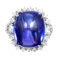 A Beautiful 32.18 Carat Sugarloaf Tanzanite Diamond Dress Ring