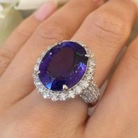 A Gorgeous 17.12 Carat Oval Tanzanite Diamond Platinum Halo Ring