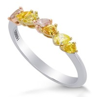 A Gorgeous 0.49 Cts Mix Diamond Band Ring Set in 18K White Yellow Rose Gold