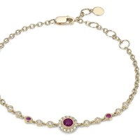 A Gorgeous Ruby and Diamond Vintage Inspired Bracelet in 14k Yellow Gold