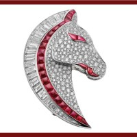 A Gorgeous Ruby and Diamond Horse Head Brooch by Bulgari