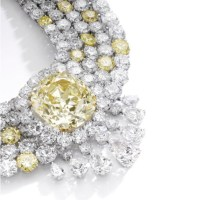 An Impressive Fancy Intense Yellow Diamond and Diamond Necklace