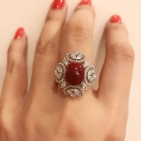 Stunning Red Coral Diamond Ring