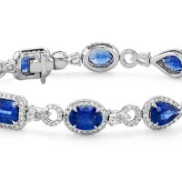 Sapphire Eternity Bracelet with Diamond Halos in 18k White Gold