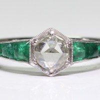 Antique Art Deco Platinum Diamond & Emerald Ring