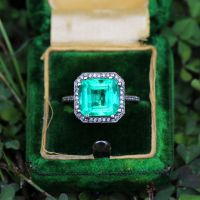 Colombian Emerald Ring with Diamonds White Gold 5.48ctw