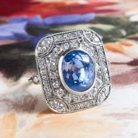 Art Deco Style 6.65ct Blue Sapphire & 1.90cts Old Cut Diamond Ring Platinum Ring