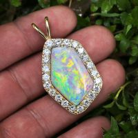 Australian Opal Pendant with Diamonds 14K Yellow Gold 14.45ctw Certified