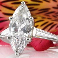 A Gorgeous 3.45 Ct Marquise Cut Diamond Engagement Ring