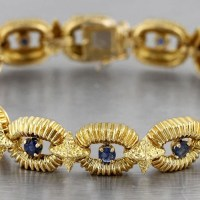 Vintage Estate Tiffany & Co. 18K Yellow Gold Blue Sapphire Link Bracelet