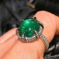 Captivating Cabochon Emerald Diamond Ring