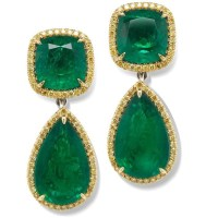 36.38 Ct Natural Emerald Fancy Yellow and White Diamond 18k Gold Earrings GIA Certfied