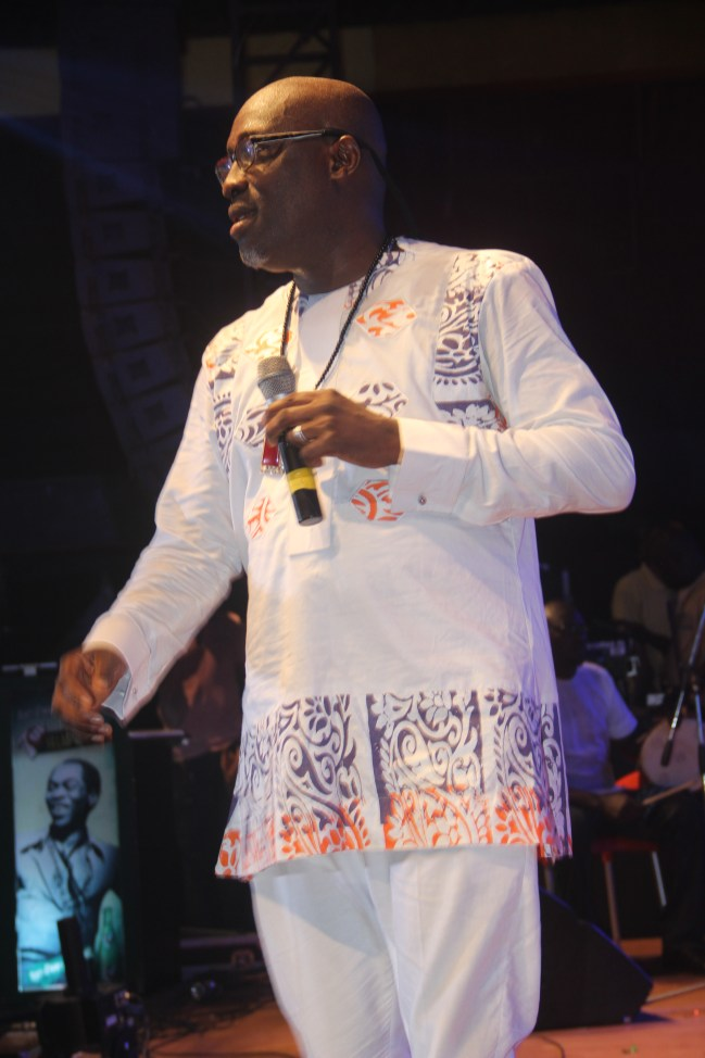 Adewale Ayuba on stage at the Afrika Shrine