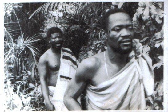 Peter Fatomilola on the left on Songbird, a Moyo Ogundipe film (1984 circa) - Courtesy: Jimi Solanke