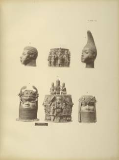 Bronze heads and stools from Benin in the British Museum - Courtesy Aberdeen University