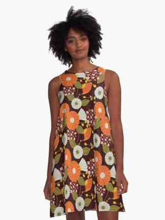 Orange, Red, Yellow and Green Retro Flowers A-Line Dress Redbubble