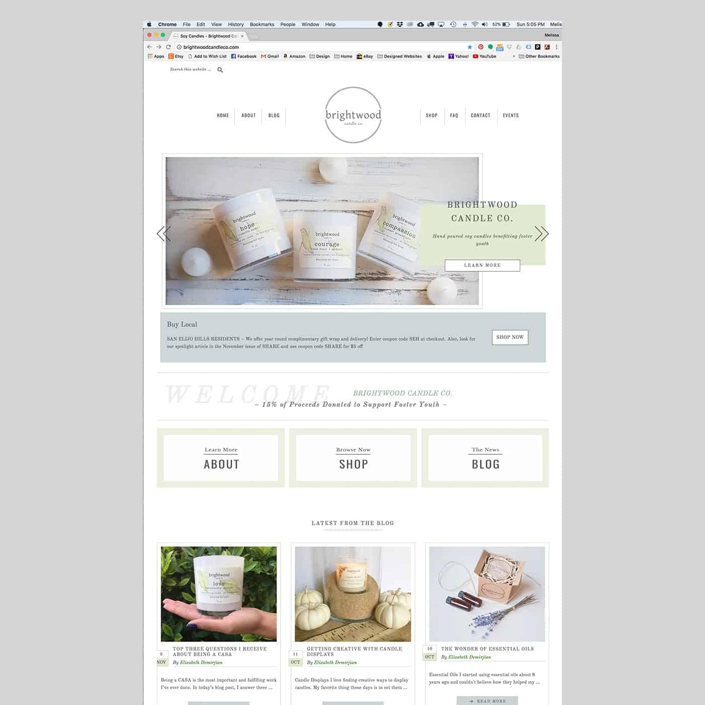 Brightwood Candle Co. Wordpress Web Design Eyestigmatic Design