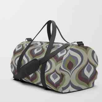 Blue, Gray, Green and Brown Geometric Retro PatternDuffle Bag Society6 Eyestigmatic Design