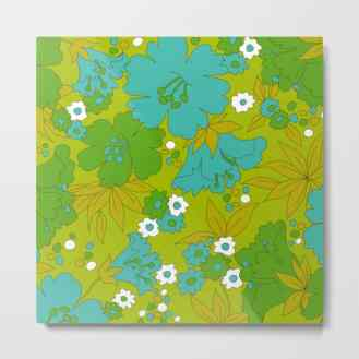 Green, Turquoise, and White Retro Flower Design Pattern Canvas Print by Eyestigmatic Design Society6