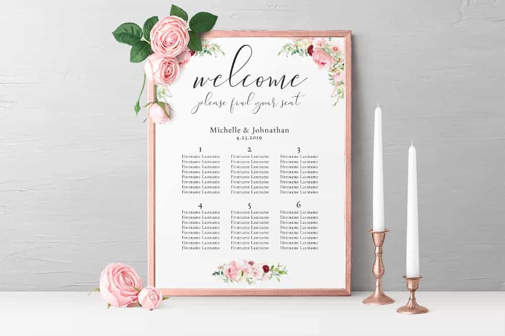 Seating Chart Wedding.Delicate Pink Watercolor Floral Wedding Seating Chart