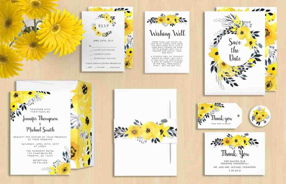 Yellow Flower Wedding Invitations On Zazzle