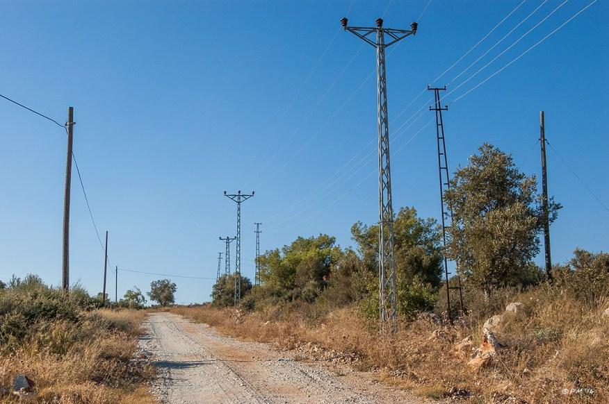 Cable masts along dirt road. Patara Turkey. Landscape Colour. P.Maton 2014 eyeteeth.net